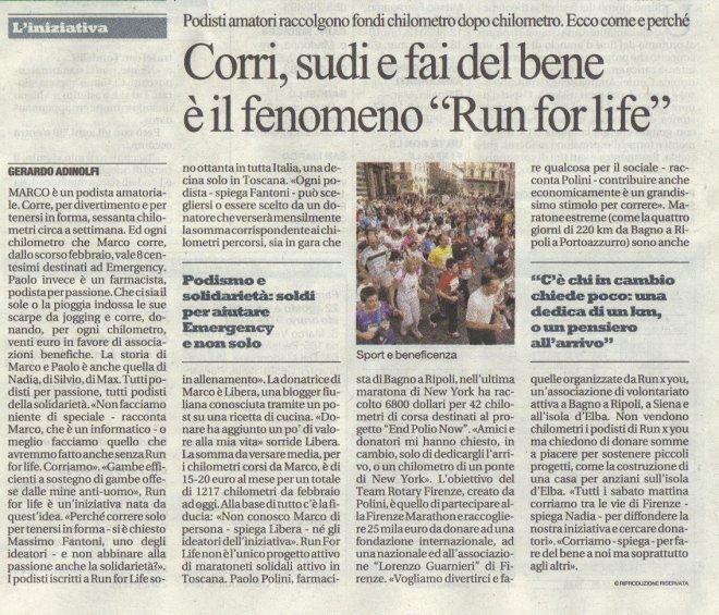 """Run for life da """"La Repubblica - Firenze"""" del 25/08/2011"""