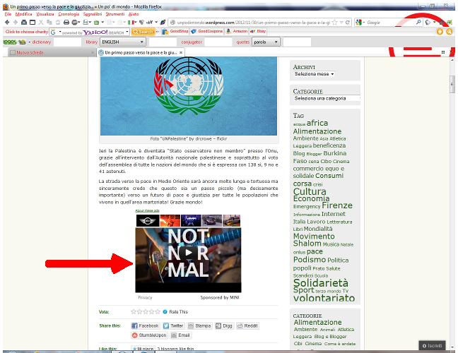 Il mio blog con lo spot della Mini sotto al post sulla Palestina.