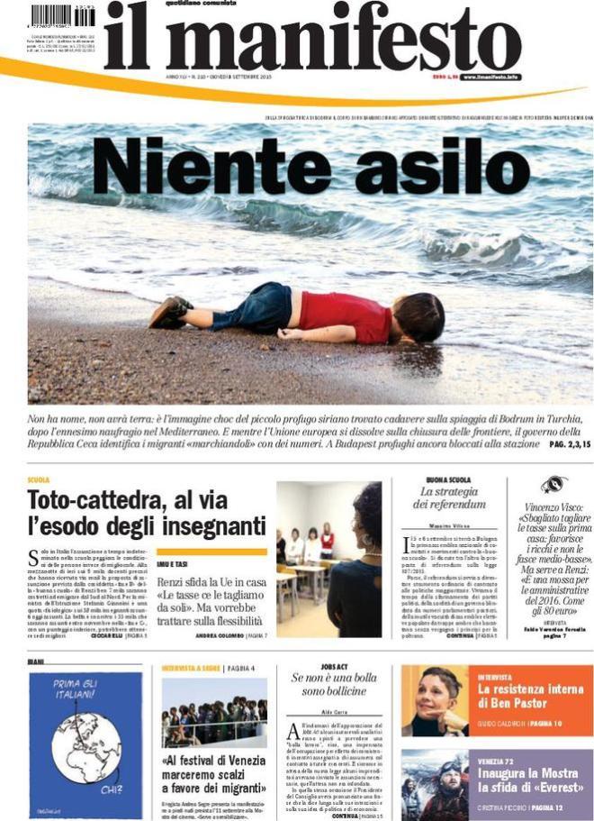 """Prima pagina de """"Il Manifesto"""" del 3/9/2015 - Foto presa da Internet"""
