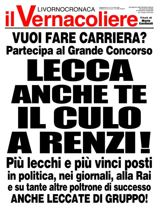 """Locandina del numero di Novembre 2015 tratta dal sito de """"Il Vernacoliere""""."""